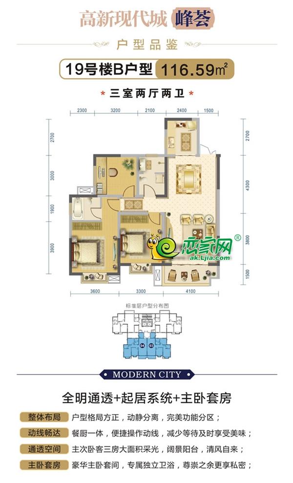 安康高新现代城高新现代城19#B户型3室2厅2卫116.59平米