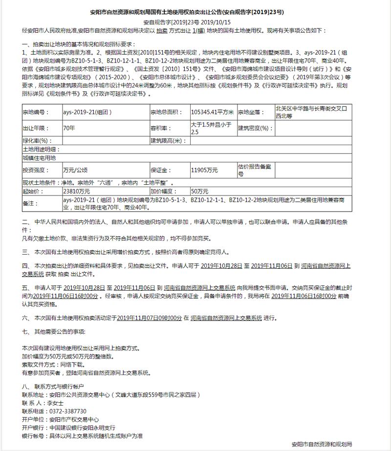 安阳市自然资源和规划局国有土地使用权拍卖出让公告(安自规告字[2019]23号)