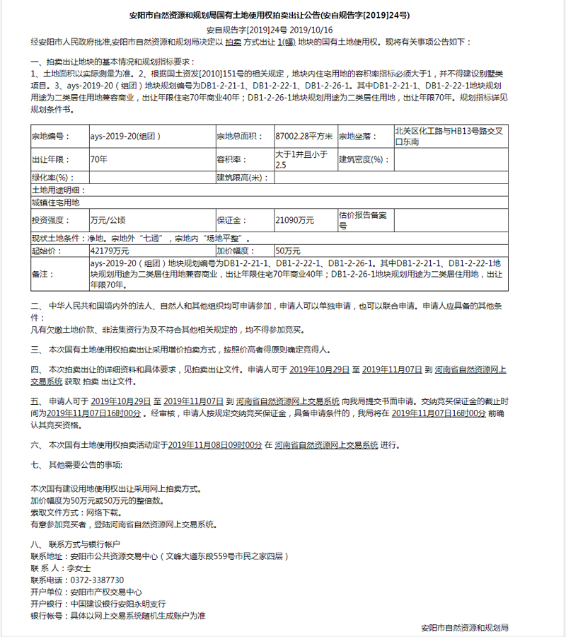 安阳市自然资源和规划局国有土地使用权拍卖出让公告(安自规告字[2019]24号)