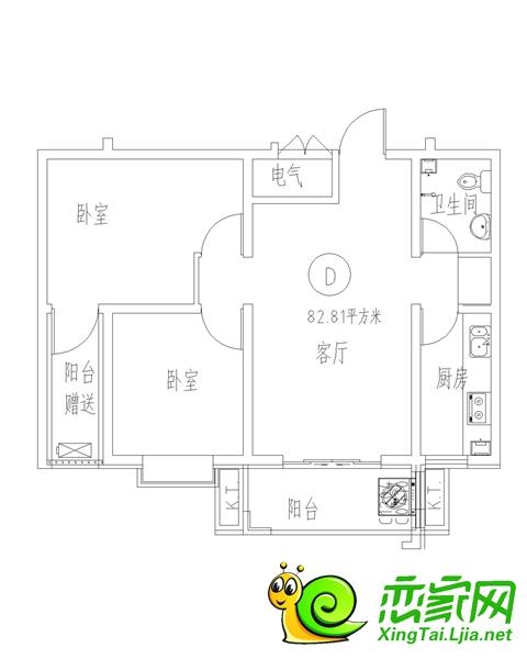 三奕润城7#D户型面积88.9
