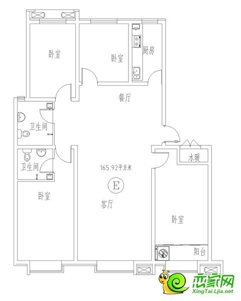 三奕润城7#E户型面积(165.92)