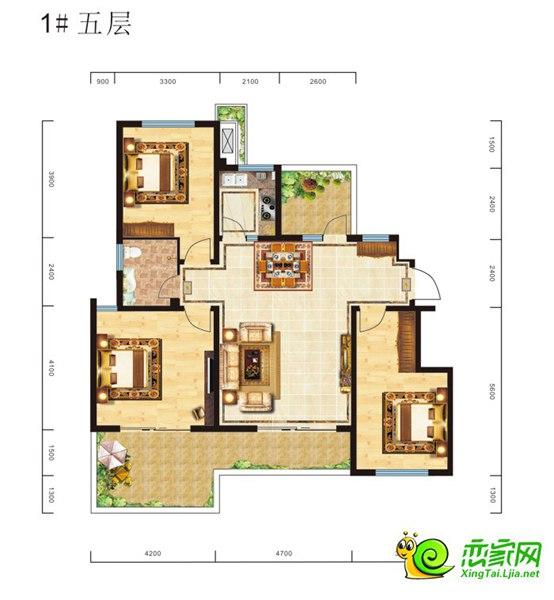 南通馨海国际城瞰海洋房户型图四室两厅两卫173㎡(仅供参考,以售楼处