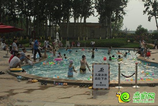 孩子们在游泳池内嬉戏