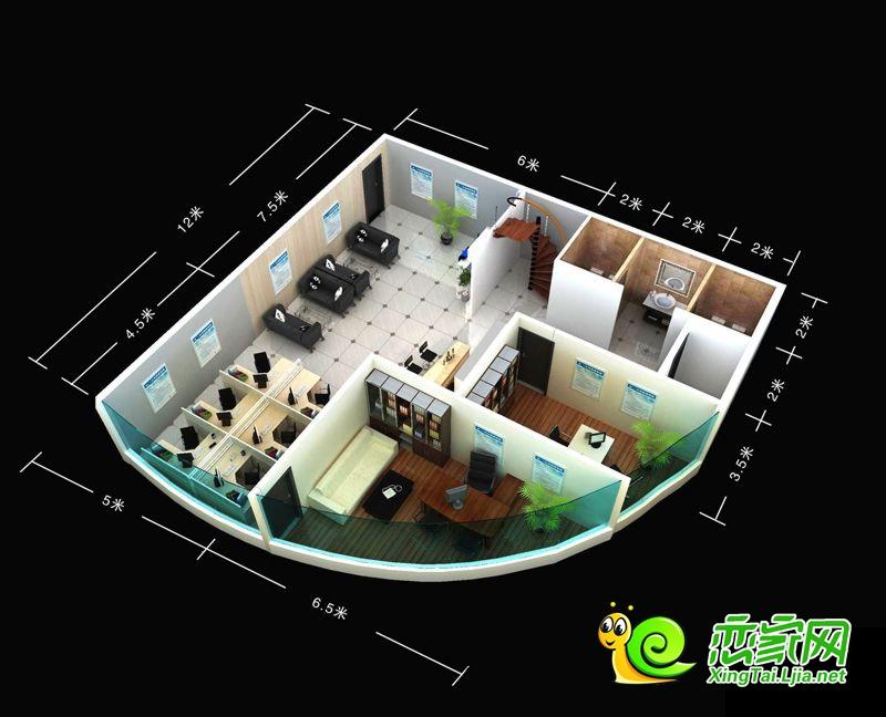 万城新界办公区一层3D效果图