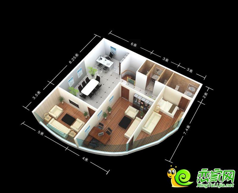 万城新界办公区二层3D效果图