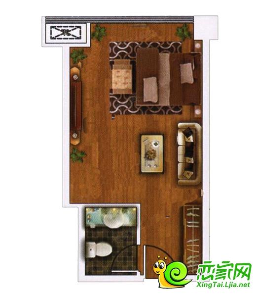 万城新界公寓一居户型图
