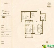 7G户型86.21平米两室两厅一卫