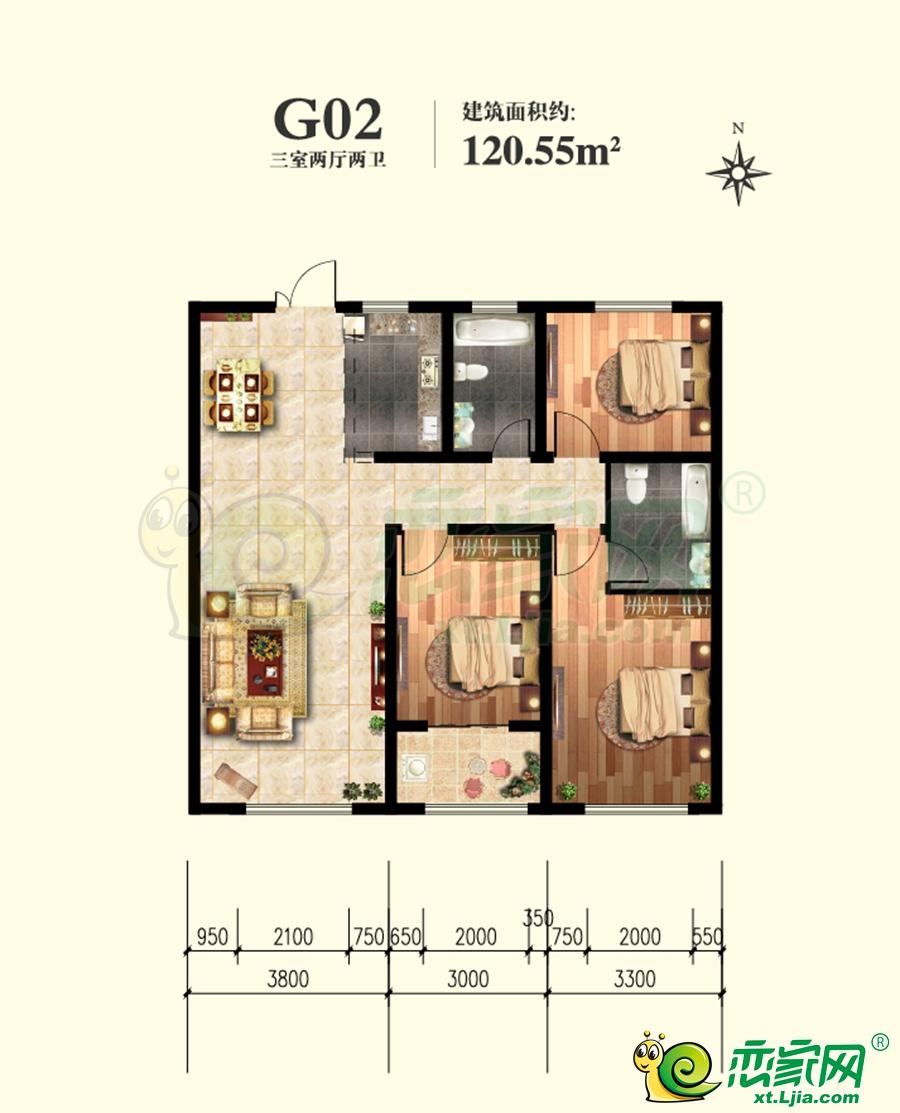 邢台永康上东御府G02户型120.55㎡三室两厅两卫3室2厅2卫120.55平米
