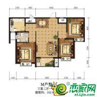 M户型102.97平米三室两厅一卫