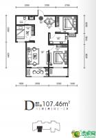 高层-D户型图107.46㎡
