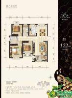 B2户型122㎡三室两厅两卫