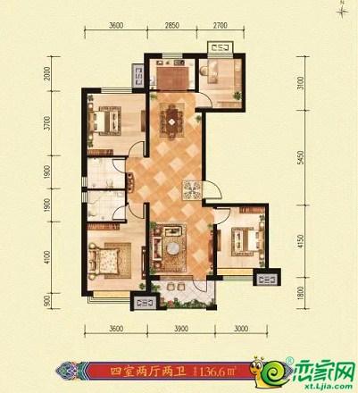 邢台荣盛·锦绣观邸136.6㎡4室2厅2卫136.6平米
