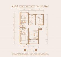 G1-1户型120.78㎡三室两厅两卫