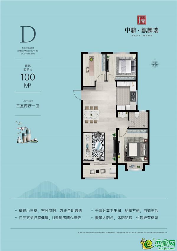 邢台中鼎·麒麟瑞D户型3室2厅1卫100平米