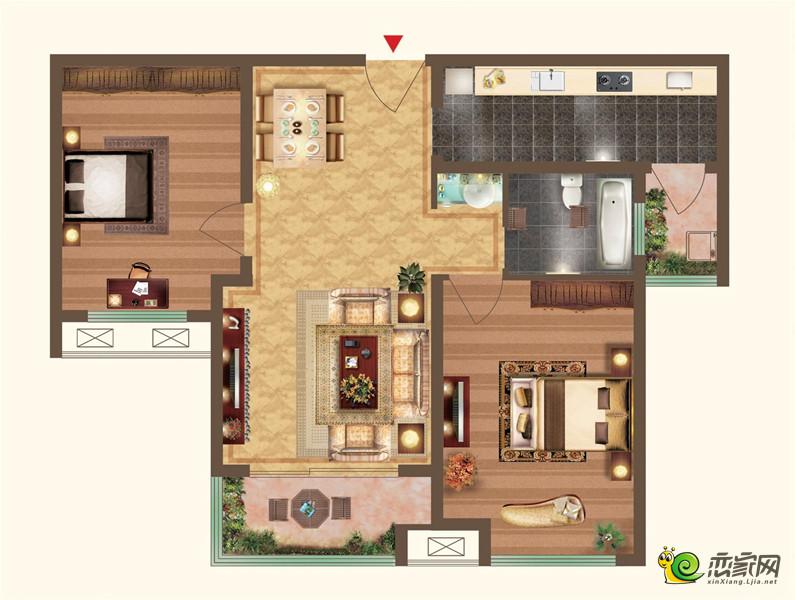 宝龙城市广场二期两室两厅一卫户型图