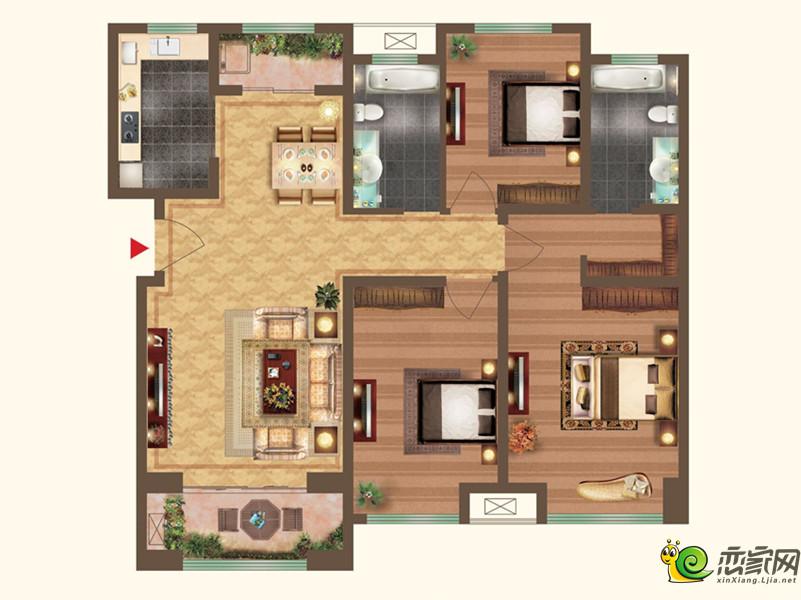 宝龙城市广场二期三室两厅两卫户型图1