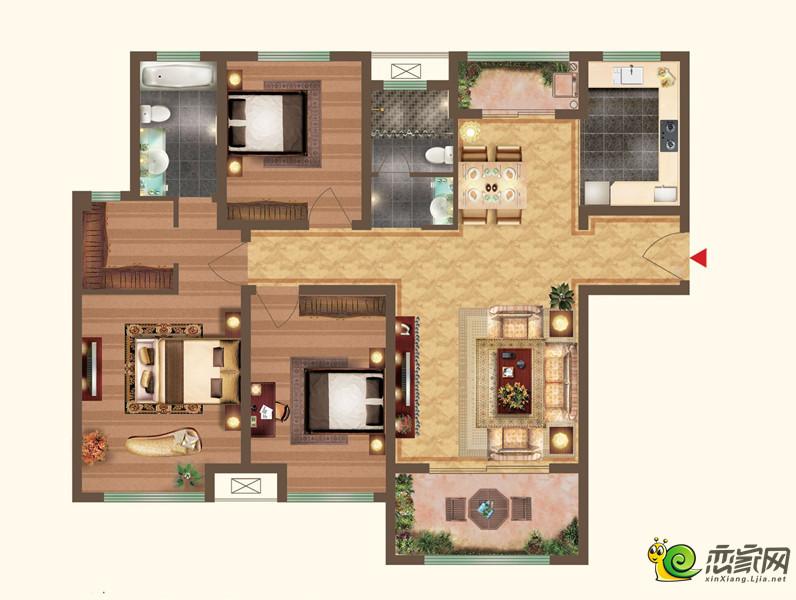 宝龙城市广场二期三室两厅两卫户型图2
