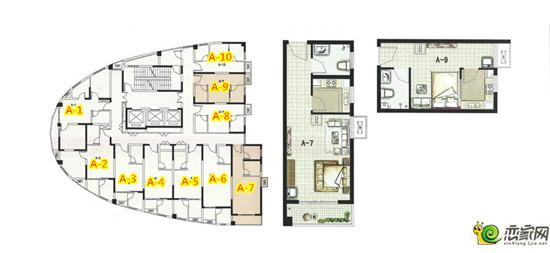 绿都塞纳春天小户型公寓层面平面图