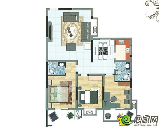 清华园三室两厅两卫户型图