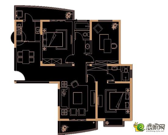 派克公馆141平方米三室两厅两卫户型