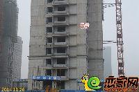 华天公馆5#楼部分楼层做填充墙工作