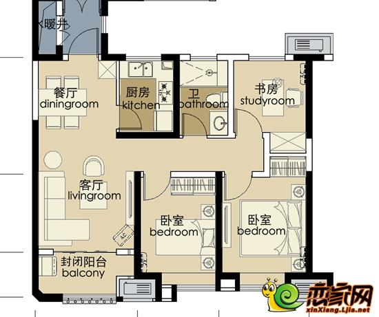 中波褐石公园90㎡三室两厅一卫户型图