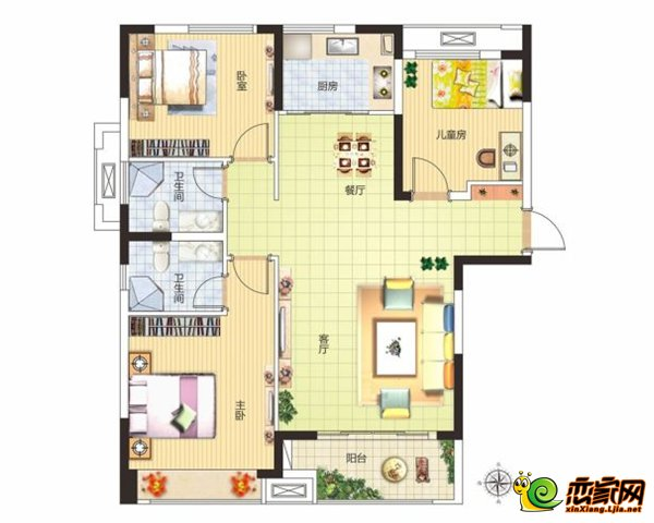 美好城115㎡三室两厅两卫