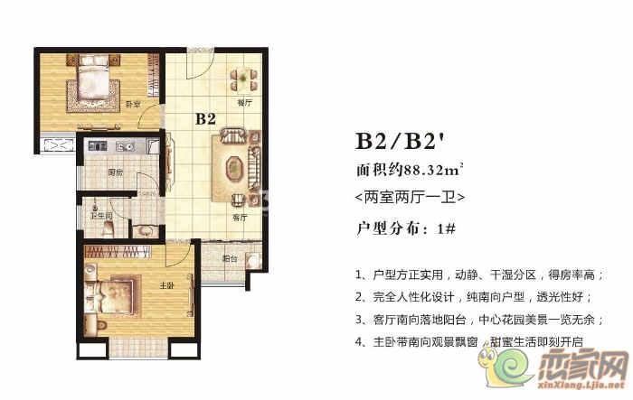 高晟·福润城1#·B2/B2`户型图