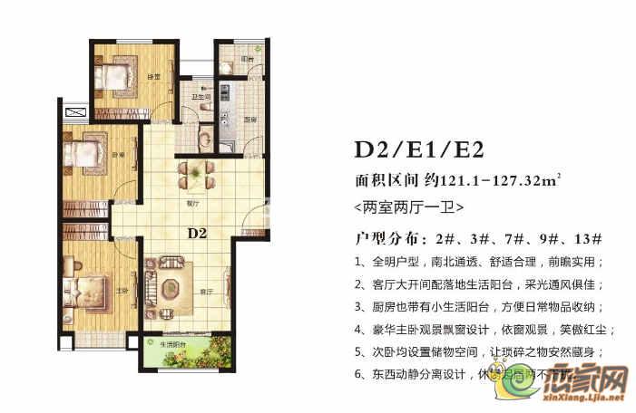 高晟·福润城2#、3#、7#、9#、13#·D2/E1/E2户型图
