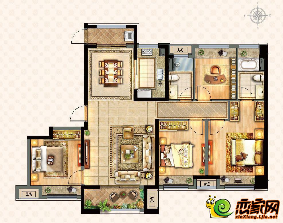 新乡宝龙广场四室两厅两卫户型图