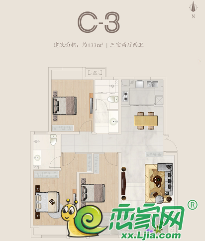 国悦城C-3户型图