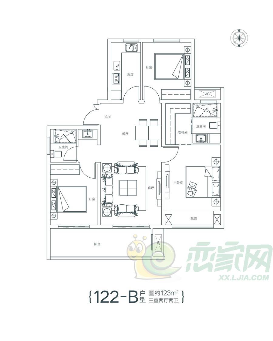 瓏府122-B户型图