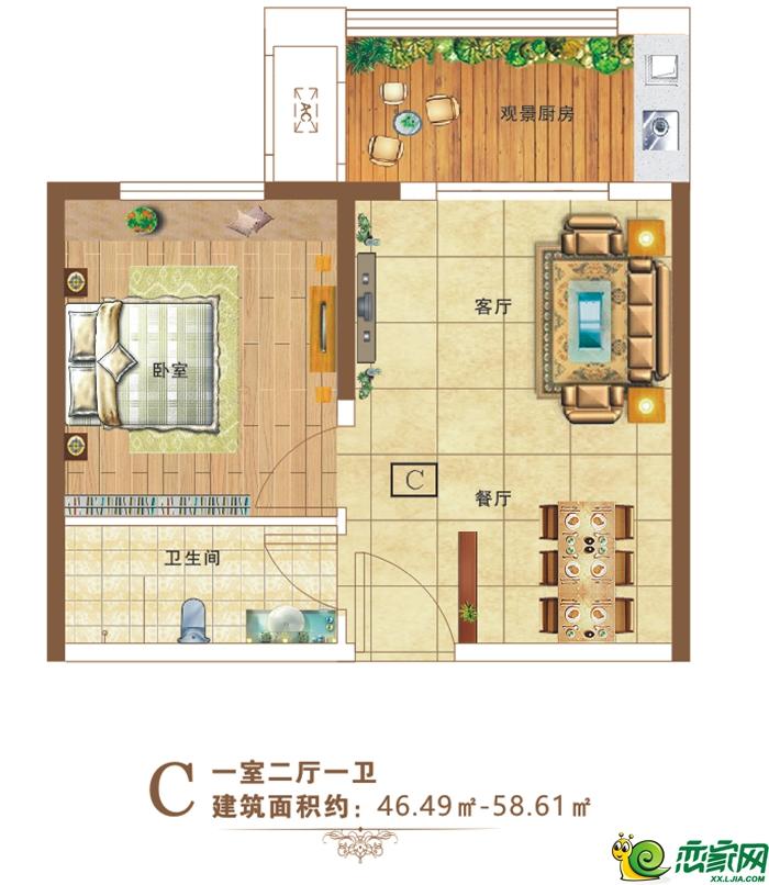 太阳城水岸清华C户型47-58㎡